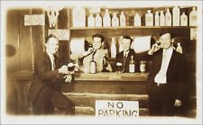 Real Photo: Four Men at the Bar, Each Named on Back. No City ID. 1930s RPPC.