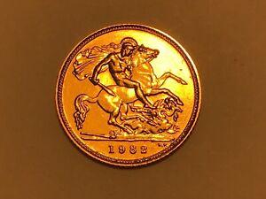 1982 Gold Half Sovereign Elizabeth II Decimal Portrait (1)