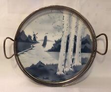 "Antique European Porcelain & Pierced Metal Serving Tray-Windmill, Sailboat 9.25"""