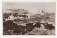 Rough Sea Porthcawl Vintage RP Postcard Glamorgan South Wales 750b