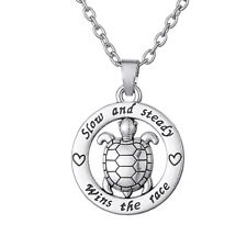 Inspirational Jewelry Turtle Necklace Slow And Steady Wins The Race Mens Pendant