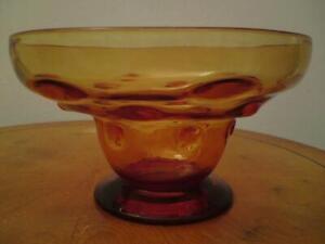 English Thomas Webb Amber Glass Bullseye Bowl Signed Webb ENGLAND