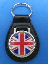 UNION JACK BRITISH FLAG ENGLAND UK BLACK LEATHER KEYRING KEYFOB #251
