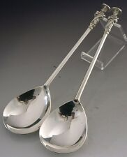 QUALITY ENGLISH STERLING SILVER APOSTLE SERVING SPOONS 1910 ANTIQUE