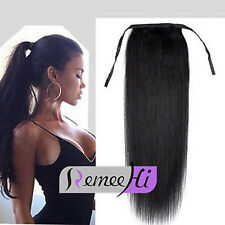 Drawstring clip-in human hair ponytail 100%25 Remy human hair extensions 100g