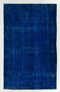 5.5x8.7 Ft Vintage Rug Over-Dyed in Blue Color, Great for Contemporary Interiors