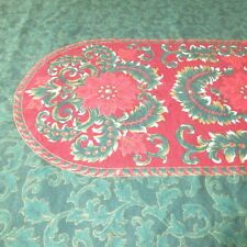 Linen Christmas Holiday Tablecloth Green Gold Red 60 in.  x 110 in. Cotton