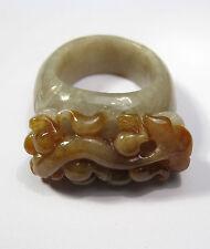 """Grado A Natural Jade Tallado anillo de pescado Dragón"""""""" (diámetro interior 21mm)"""