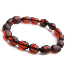 Genuine Natural Blood Red Amber Gemstone Oval Beads Woman Bracelet 9mm AAA