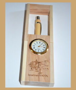 Teak Wood Engraved Pen Holder Desk Clock Pen Pencil Stand with Pen from India