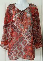 Womens Monsoon Blue Russet Lace Up  Paisley Scarf Boho Folk Semi Sheer Blouse 14
