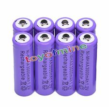 8x AA 3000mAh 1.2 V Ni-MH rechargeable battery Purple Color cell MP3 RC Toys