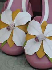 Vis a Vie Womens Mule/Sandels Shoes Pink Leather 6.5M New in Box Flower Detail