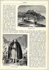 Albanischer Ziegenhirt in Tracht * Citadelle auf Korfu * Originalblatt von 1884