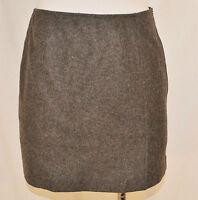 BoHo Chic VTG 90s Express Gray Wool  Career Side Zip Fitted Short Skirt Size 1/2