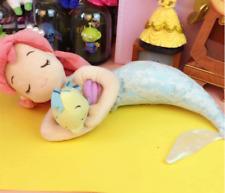 Japan Disney Store Sleeping Ariel with Flounder Plush Doll Mermaid Toy