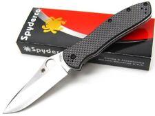SPYDERCO Black Carbon Fiber BRADLEY FOLDER 2 Plain Edge Pocket Knife! C134CFP2