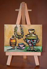 ACEO originale in miniatura dipinto ad Acquerello, Tea Time, SAMOVAR RUSSO