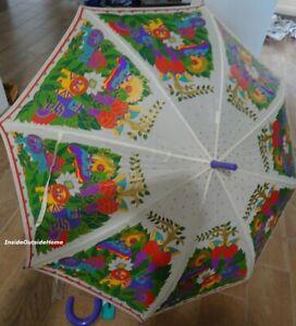 Laurel Burch STICK Umbrella Secret Jungle Zoo Cat Tiger Lion Cockatoo RETIRD EUC