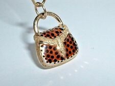14k YELLOW GOLD 3D LEOPARD PURSE HANDBAG CHARM