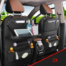 2pcs Car Seat Back Organiser Storage Leather Bag Foldable Tray Cup Holder