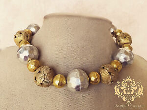 Aimee Fuller Gold Brass Africa Tribe Filigree Statement Necklace Hammered Silver