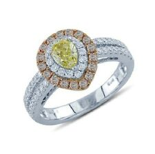 18K ROSE WHITE TWO TONE GOLD PAVE YELLOW PINK DIAMOND HALO PEAR ENGAGEMENT RING