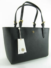 NWT Tory Burch York Small Buckle Leather Tote Handbag in Black $245 AUTH