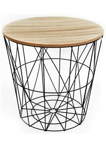 ROUND METAL WIRE WOOD TOP COFFEE SIDE TABLE STORAGE BASKET WHITE BLACK GOLDEN