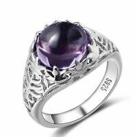 Echt 925 Silber Ring Vintage natürliche Amethyst Hochzeit Damen edlen Schmuck.
