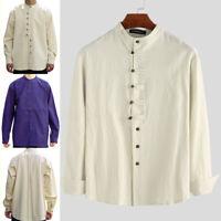 100%Cotton Mens Long Sleeve Collarless Shirt Retro Grandad Causal Blouse Tops