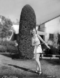 8x10 Print Mary Carlisle Alluring Outdoor Tennis Racket Paramount 1937 #MCCK
