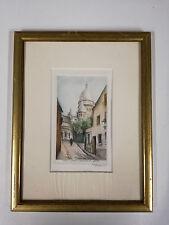 lithographie colorisée pastel Paris rue chevalier de la barre signée au crayon