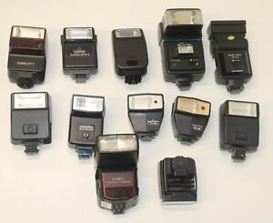 Lot of 12 Vintage Flash Units: Canon, Sunpak, Pentax, Olympus Minolta Vantage