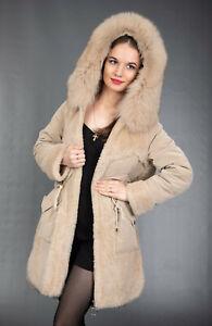 3502 NEW GLAMOROUS SHEEPSKIN COAT FUR JACKET HOOD BLUE FOX BEAUTIFUL SIZE M