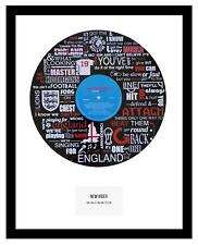 WORLD CUP - ENGLAND - WORLD IN MOTION -  VINYL RECORD LYRIC ART - MEMORABILIA
