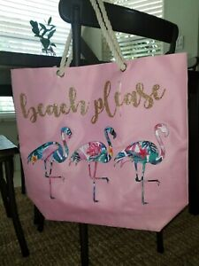 X-Large BEACH PLEASE Nylon Poly FLAMINGO Pink Tote Bag Gold Bling Rope Handles