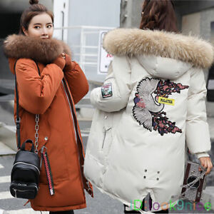 Ladies Warm Jacket Hooded Winter Top Parker Parka Long Coat Outwear Big Size