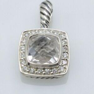 David Yurman 7mm Sterling Silver with White topaz & Diamonds Albion Pendant