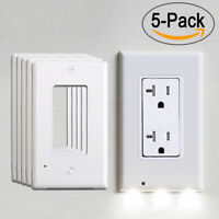 5pcs Wall Outlet Cover Plate LED Night Lights Sensor Auto ON/OFF Hallway Bedroom