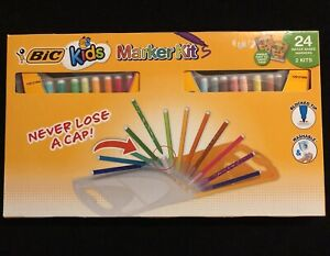BIC, Kids Assorted Colors Water Based Marker Kit with Carrying Case, 24 Count