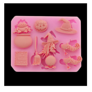 Halloween Witch Pumpkin Silicone Baking Mould Party Cupcake Chocolate Topper UK