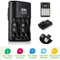 EBL 4 Bay Smart Rapid Charger For AA AAA 9V NiMH NiCD Rechargeable Batteries USA
