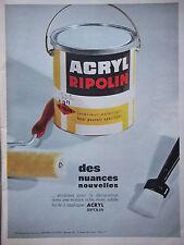 PUBLICITÉ DE PRESSE 1964 PEINTURE ACRYL RIPOLIN NOUVELLES NUANCES - ADVERTISING