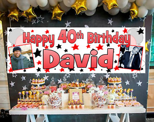 Large Personalised Birthday Banner Photo Red Black 18th 21st 30th 40th 50th 60th