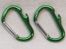PAIR GREEN CARABINER CLIP BUCKLE BOTTLE OPENER KEY RING CAMPING BEER LOT OF TWO