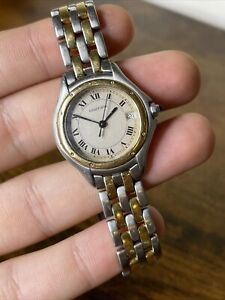 Cartier Panthere Cougar 119000R Ladies Gold Steel Two Row Quartz 26MM Watch