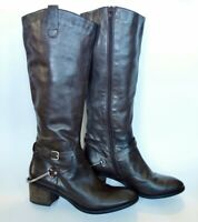 STEVE MADDEN 'Sturrip' tall knee-hi brown leather RIDING BOOTS w/spurs womens 9