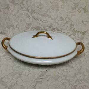 Favorite, Bavaria White and Gold Soup Tureen- 12in x 8.5in x 4.5in