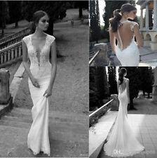 2017 Tiefem V-Ausschnitt Rückenfrei Spitze Mermaid Brautkleider Hochzeitskleid